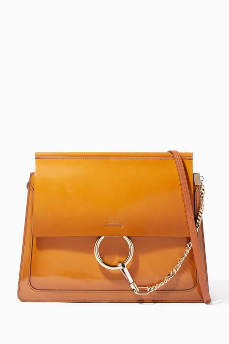Caramel-Brown Medium Faye Lambskin Shoulder Bag