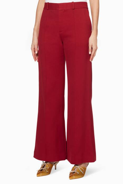 Dusky-Red Pleated Wide-Leg Pants
