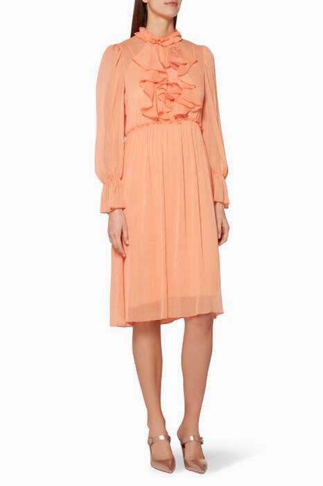Evening-Orange Ruffled Knee-Length Dress
