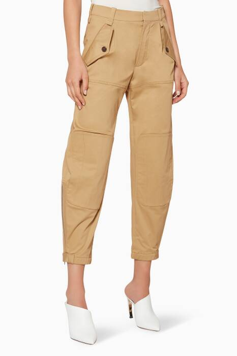 Olive Cotton Straight-Leg Pants
