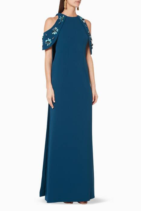 Dark-Blue Floral Embellished Tazanna Gown
