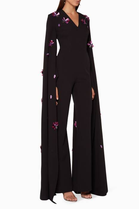 Black Dhara Floral Embroidered Jumpsuit