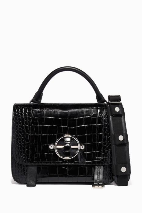 Black Disc Crocodile-Embossed Satchel