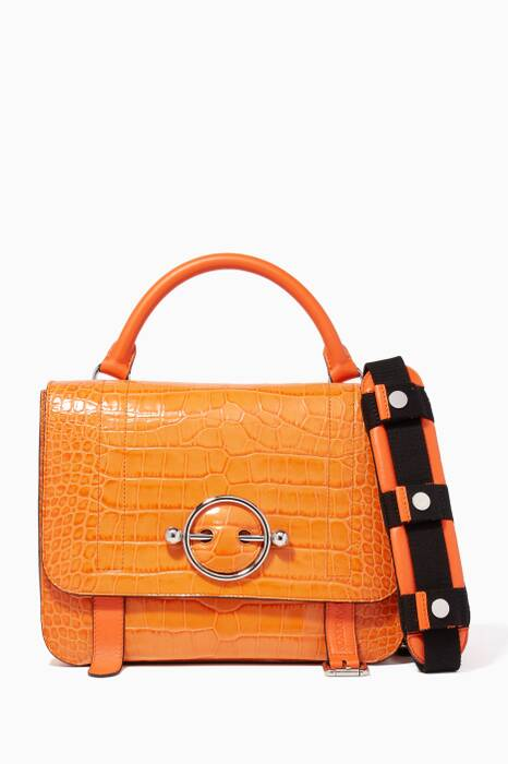 Tangerine Disc Crocodile-Embossed Satchel