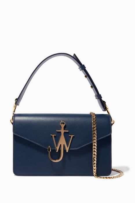 Navy Logo Leather Shoulder Bag