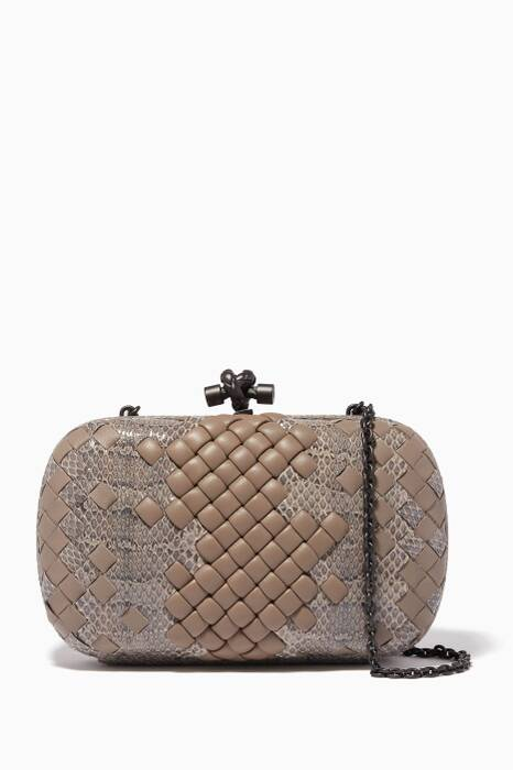 Grey Intrecciato Imperatrice Chain Knot Clutch