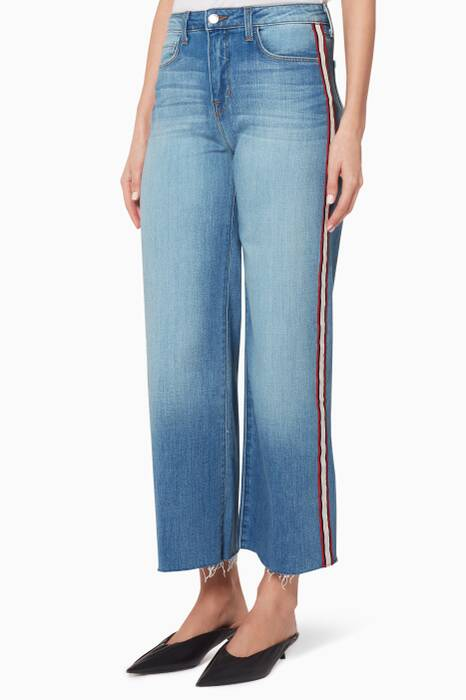 Lake-Blue Danica Cropped Wide-Leg Jeans