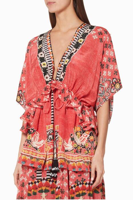 Multi-Coloured Floral-Print Kaftan