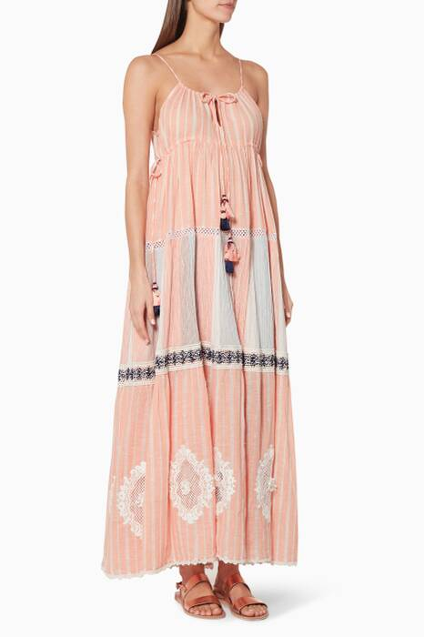 Peach Sleeveless Striped Maxi Dress