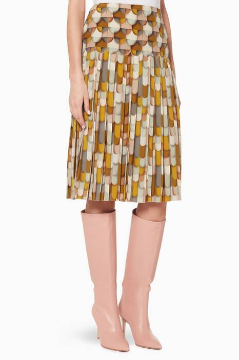 Multi-Coloured Printed Pleated Skirt