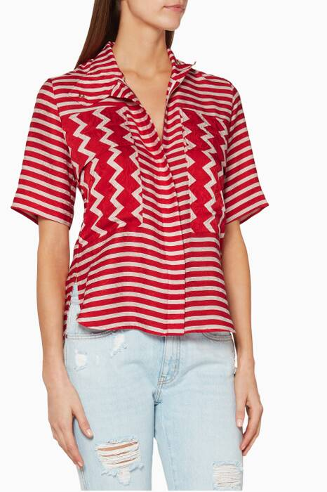 Red & White Optical Print Shirt