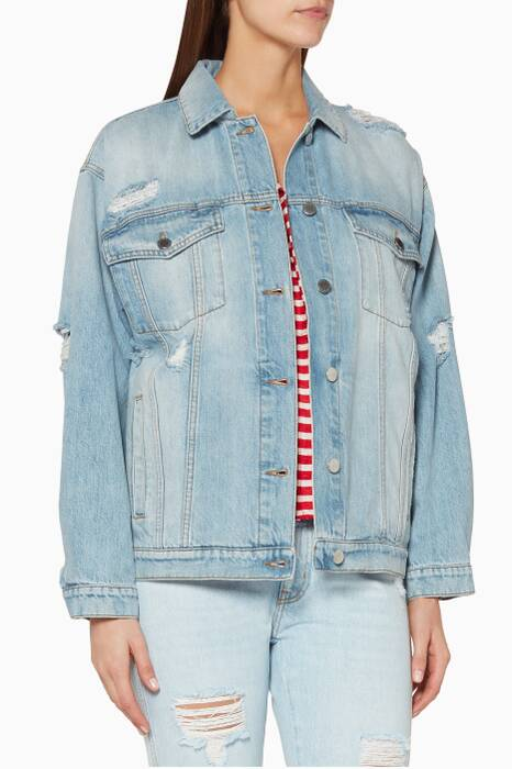 Light-Blue Distressed Denim Jacket