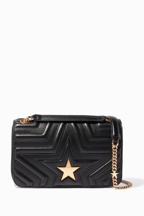 Black Medium Stella Star Flap-Over Shoulder Bag
