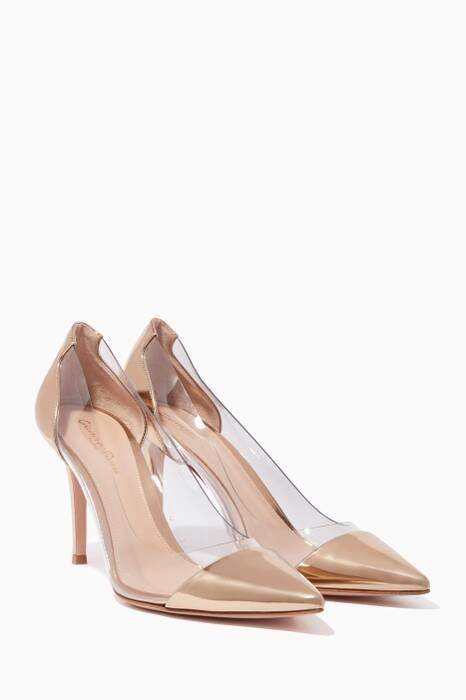 Gold Patent Leather Plexi 85 Pumps