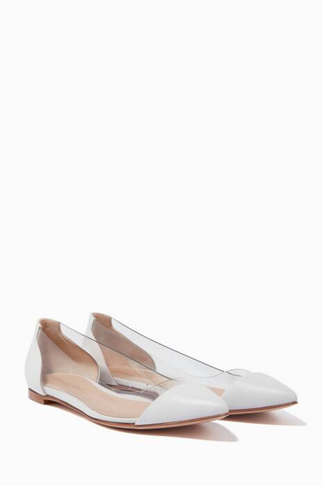 White Plexi Leather Ballerinas