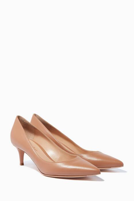 Beige Leather Point-Toe Pumps