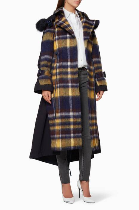 Navy & Yellow Wool Check Coat