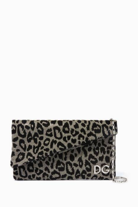 Silver & Gold DG Girls Leopard-Print Envelope Clutch