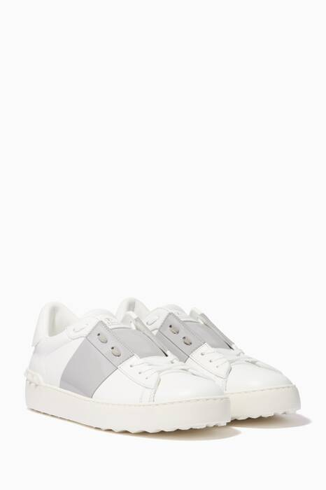 White & Grey Patent Leather Open Sneakers