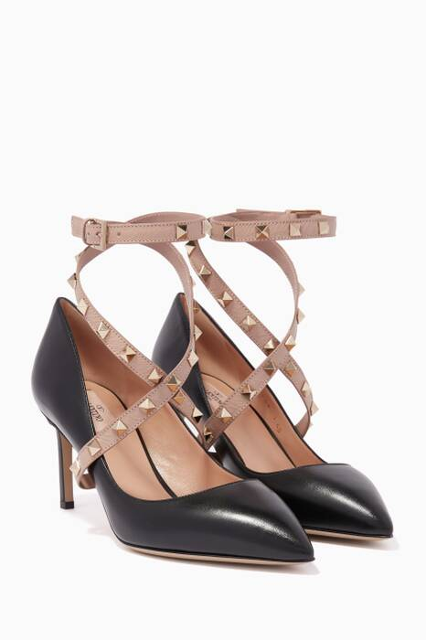 Black Rockstud Cross-Over Pumps