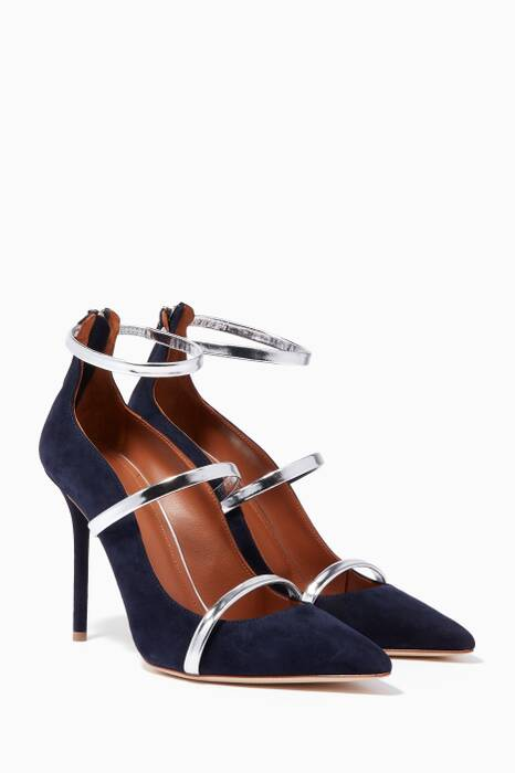 Navy Suede Point-Toe Robyn Pumps