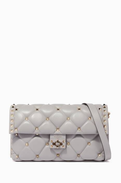 Pastel-Grey Small Candy Stud Shoulder Bag