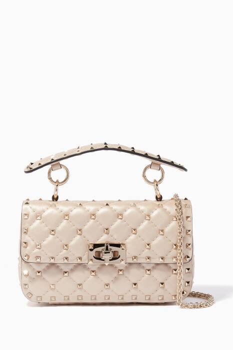 Light-Beige Small Rockstud Spike Chain Shoulder Bag