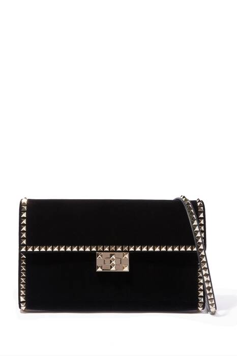 Black Stud-Embellished Velvet Bag