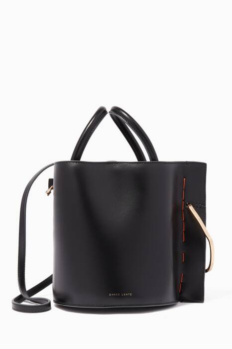 Black Leather Bobbi Bucket Bag