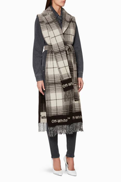 Black & White Check Blanket Gilet