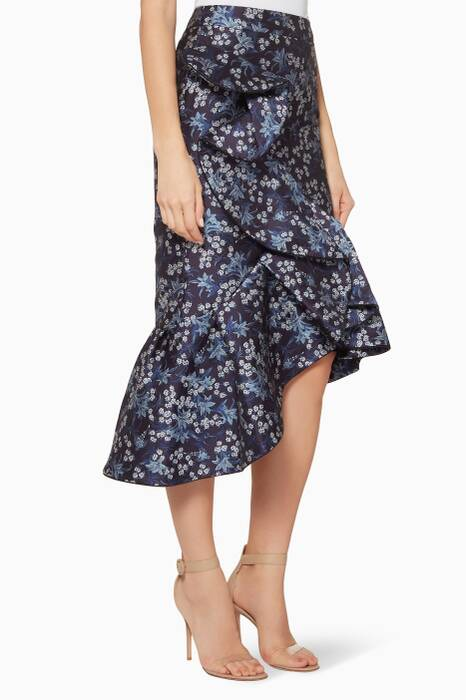 Navy Floral Belladonna Asymmetrical Skirt