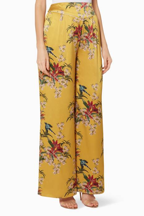 Yellow Floral-Print Specialist Of The Beyond Pants