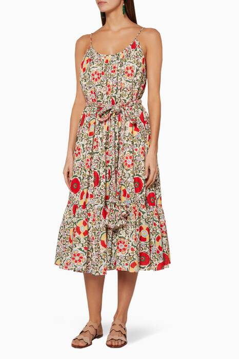 Multi-Coloured Floral-Print Lea Midi Dress