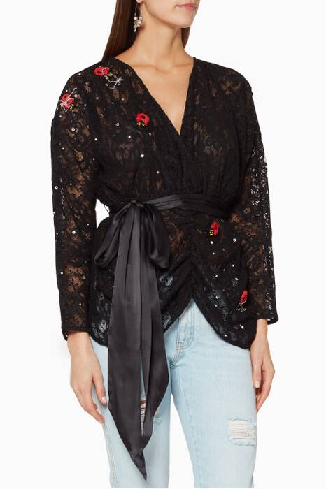Black Crystal-Embellished Coven Lace Top
