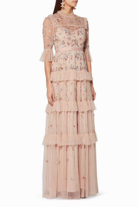 Rose-Quartz Sequin-Embellished Gown