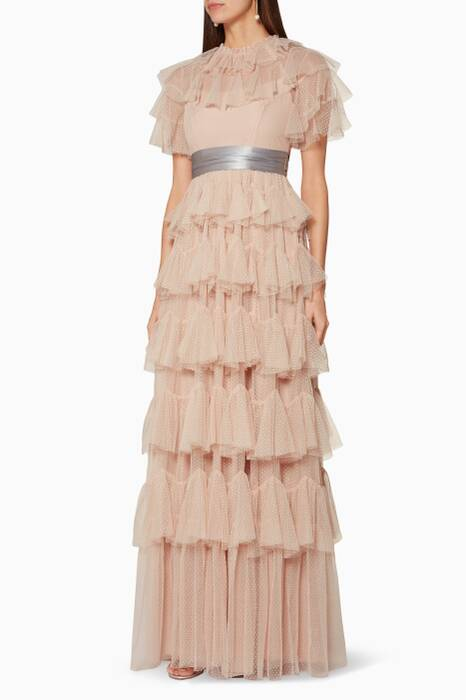 Rose-Quartz Tiered Tulle Gown
