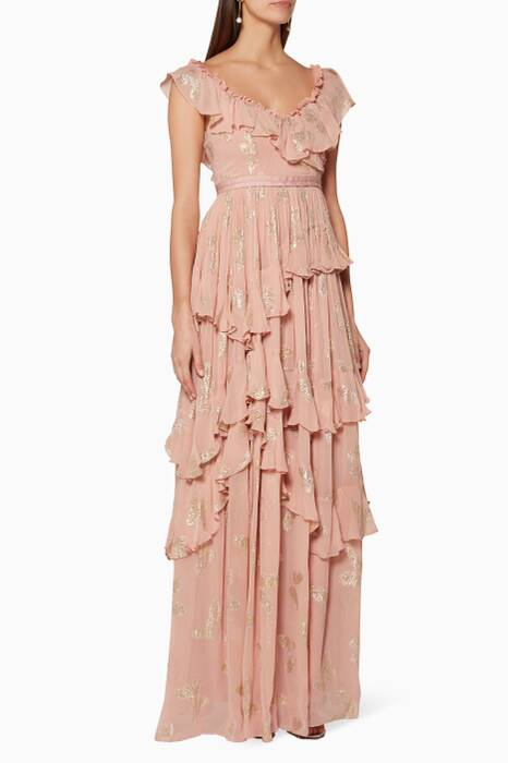 Rose-Quartz Butterfly-Embellished Tiered Gown