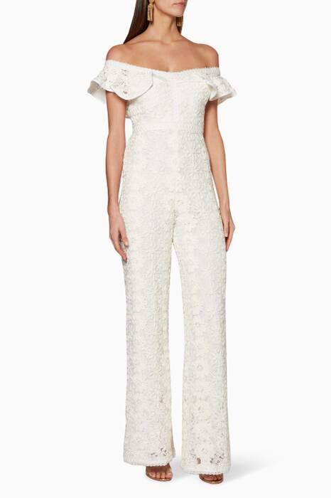 Ivory Off-The-Shoulder Edlyn Jumpsuit