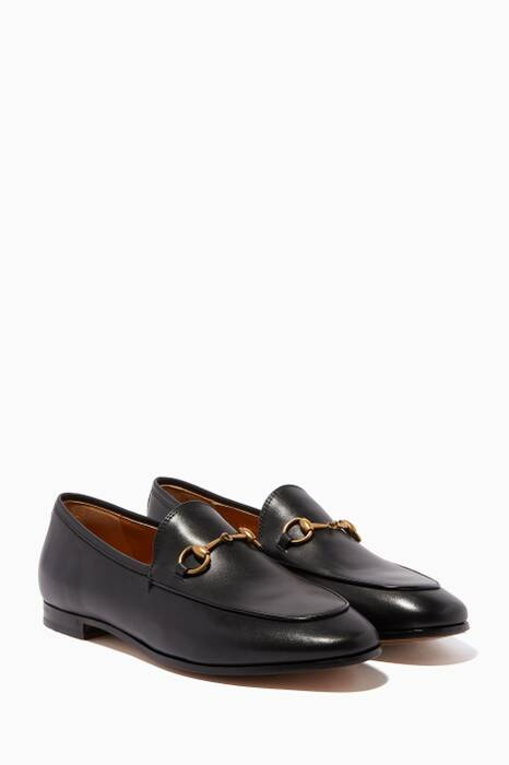 Black Leather Jordaan Loafers