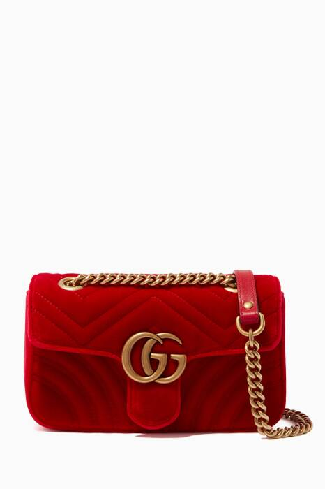 Red Mini GG Marmont 2.0 Velvet Shoulder Bag