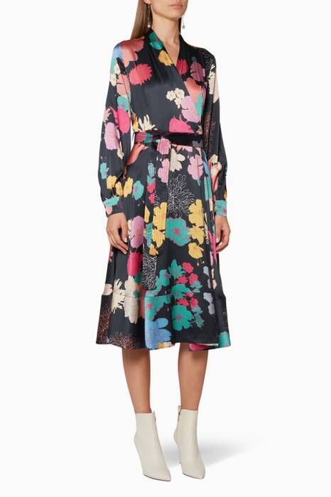 Multi-Coloured Floral-Print Reflection Wrap Dress