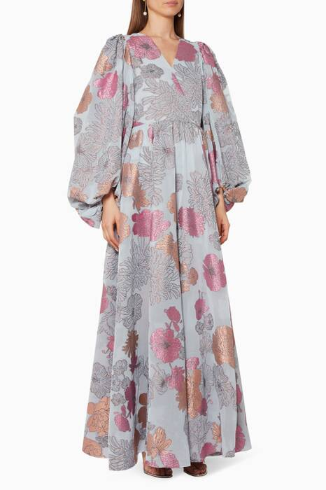 Multi-Coloured Floral-Print Baba Dress