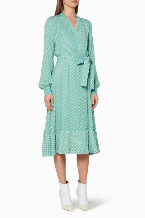 Mint-Green Printed Reflection Wrap Dress