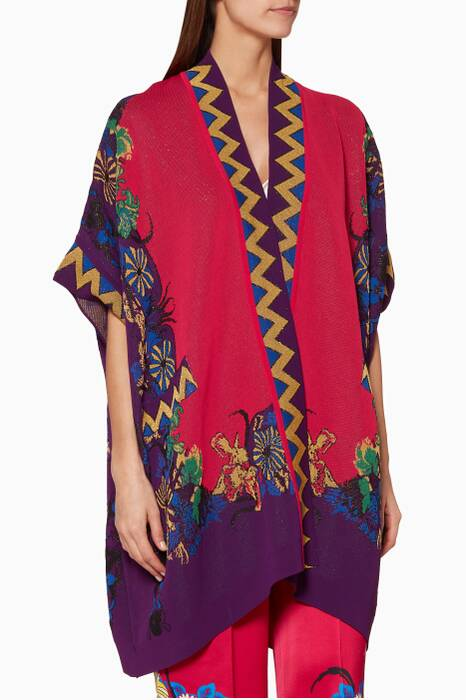 Pink & Purple Floral-Pattern Poncho