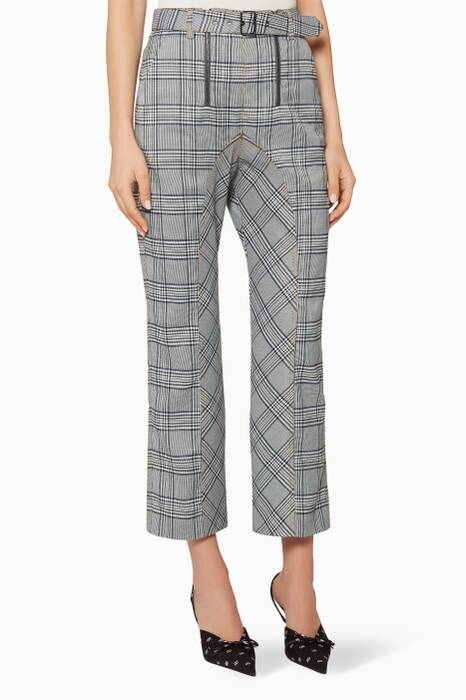Grey Check Cropped Trousers