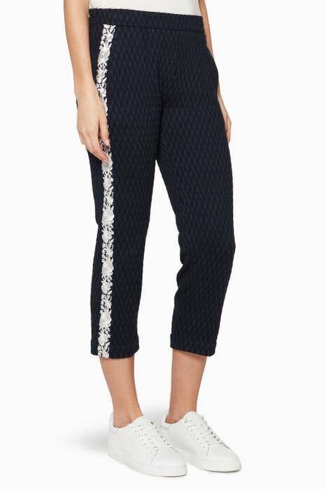 Black & Navy Side Embroidered Pants