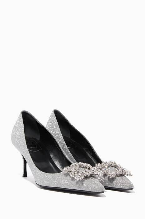 Silver Glitter Flower Strass Pumps