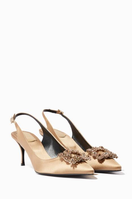 Beige Satin Flower Strass Slingback Pumps