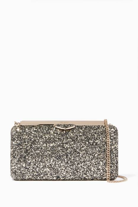 Gold Mix Ellipse Coarse Glitter Clutch