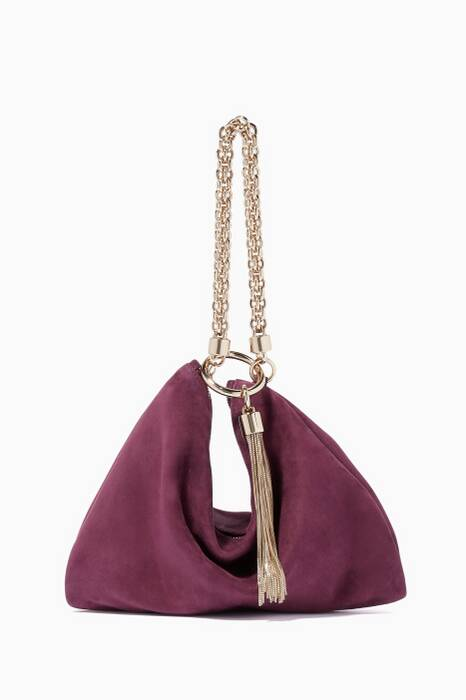 Grape Callie Suede Clutch
